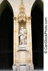statue in wall of Orleans Cathedral