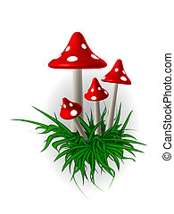 Of mushrooms - In the picture painted by inedible mushrooms...