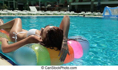 Summer Pool - Bikini Female Sunbathing by the Pool