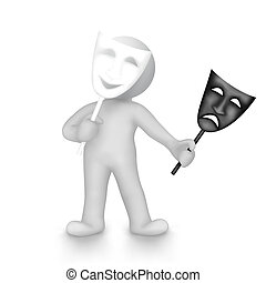 actor - isolated on a white background,gray object chose...