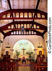 Diego, concezione,  San,  1851,  originally,  reopened, costruito, vecchio, storico,  california, immacolato, chiesa, interno,  Adobe, era, ristabilito,  1917