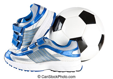 Trainers and football - A pair of sports trainers or shoes...