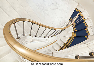 White stairs. - Stairwell in the Polish palace. Royal castle...