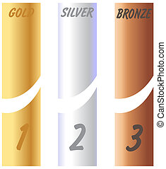 Gold Silver Bronze Labels and numbers