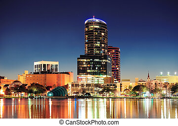 Orlando at night - Orlando downtown skyline panorama over...