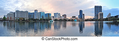 Orlando panorama - Orlando downtown Lake Eola panorama with...