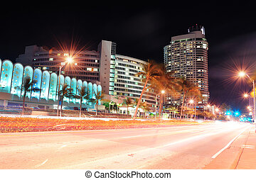 Miami south beach street view at night