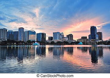 Orlando sunset over Lake Eola - Orlando Lake Eola sunset...