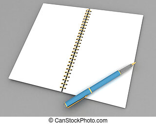 pen and notebook - pen and notebook on a gray background