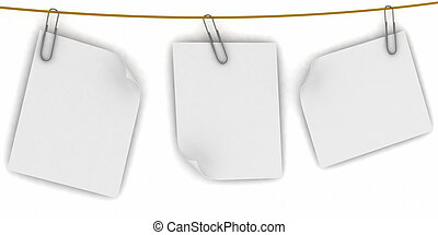 Paper are hanging in the row on the white background