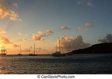 Sunset and silhouett of the ship - Caribbean sunset and...