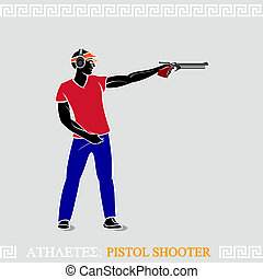 Athlete Pistol Shooter - Greek art stylized air pistol...