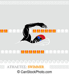 Athlete Swimmer - Greek art stylized freestyle swimmer at...