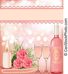 festive background with rose, pearl candle and goblet. -...