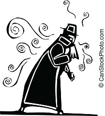 Contagious Flu - Man in trench coat blowing his nose...