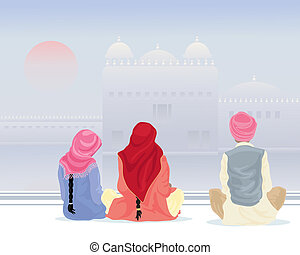 prayer at the gurdwara - an illustration of three sikh...