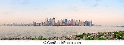 New York City river shore - New York City Manhattan downtown...