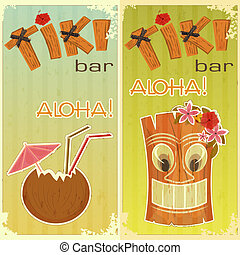 retro stickers for Tiki bars, Hawaiian party, two postcards...