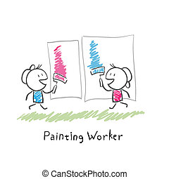 Two people paint rollers. Illustration.