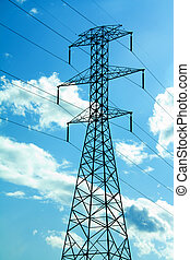 Power Lines - black power lines with a blue sky and cloud...