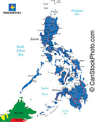 Philippines political map - Highly detailed vector map of...