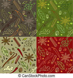 Spices kitchen pattern - Seamless pattern with different...