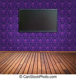 wide screen television in purple wallpaper room