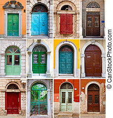A photo collage of colourful front doors to houses