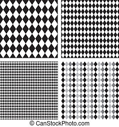 Seamless Harlequin Patterns - Harlequin patterns, 4 seamless...