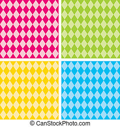 Seamless Harlequin Patterns, Bright - Harlequin patterns, 4...
