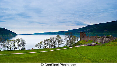 Urquhart Castle - famous Urquhart Castle at Loch Ness in...
