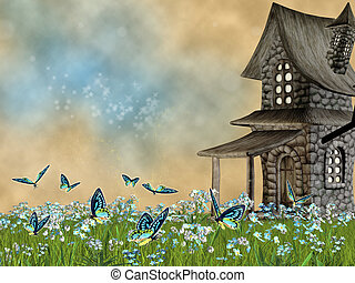 fairy tale lawn with forget-me- not flowers