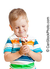 happy child boy with ice cream isolated on white backgrond