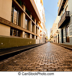 Old City of San Juan - Alley in the old city of San Juan,...
