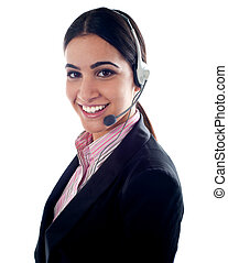 Female telemarketer with headsets - Smiling female...