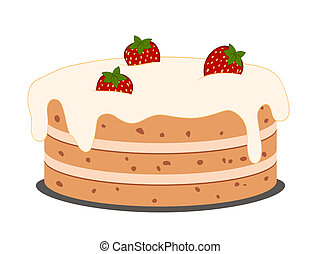 drawing cake with strawberries with cream on white, vector