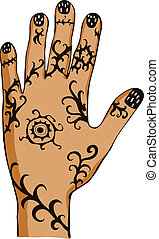 hand with drawing - Hand painted with ornament, drawing...