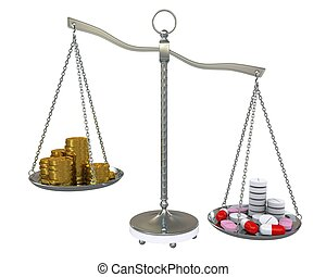 Money and pills in the gold balance scales. Isolated on white background
