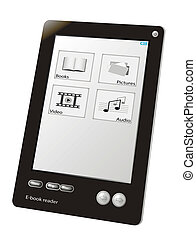 e-book reader device, close up, isolated