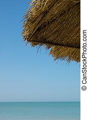 Detail of a sunshade on a beach