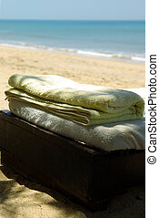Towels on a beach chair