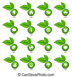 Vector collection of ecological icons isolated on white...