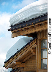 Chalet detail with snow