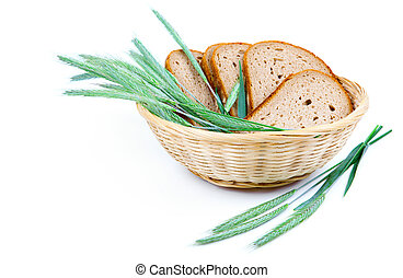 tasty baked bread with ears of wheat, isolated on a white background