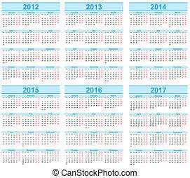 Calendar 2012, 2013, 2014, 2015, 2016, 2017