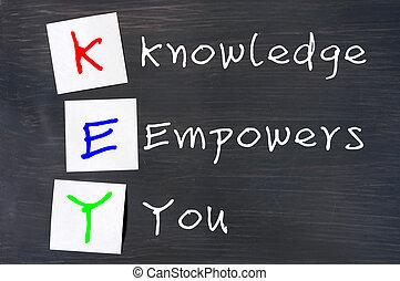 siglas, llave, conocimiento, Empowers, usted