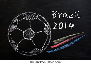Chalk drawing of Football World Cup Brazil 2014 on a wooden...