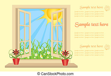 Opened plastic window in room with view to green field. vector