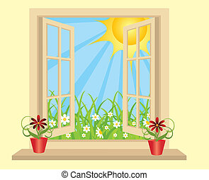 Opened plastic window in room with view to green field....
