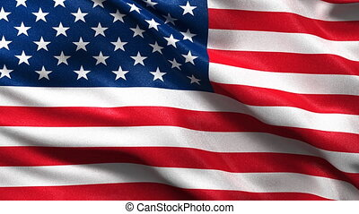 Seamless USA Flag Loop - Flag of the USA waving in the wind...